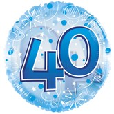 """40th Birthday Blue 24"""" Clearview Balloon"""