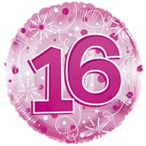 """16th Birthday Pink 24"""" Clearview Balloon"""