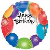 "Happy Birthday Multicoloured Personalised 18"" Foil Balloon"