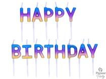 Rainbow Ombre Happy Birthday Pick Cake Candles