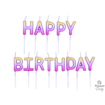 Rose Gold Ombre Happy Birthday Pick Cake Candles
