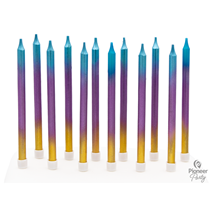 Rainbow Ombre Long Cake Candles 12pk