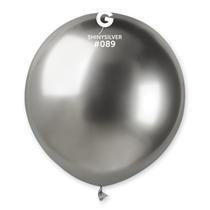 "Gemar Shiny Silver 1.5ft (19"") Latex Balloons 25pk"
