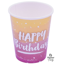 Rose Gold Ombre Birthday Paper Cups 8pk