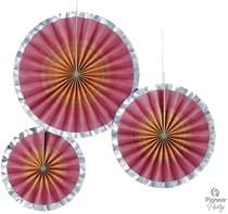 Rose Gold Ombre Paper Fans 3pk