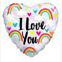 "Valentine's I Love You Rainbows 18"" Foil Balloon"