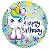 "Cute Unicorn Birthday 18"" Foil Balloon"
