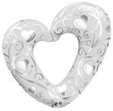 "Pearl White & Silver Open Heart Filigree 42"" Foil Balloon"
