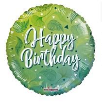 "ECO ONE - Happy Birthday Leaves 18"" Foil Balloon"