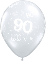 "Diamond Clear Age 90 Latex 11"" Balloons 25pk"