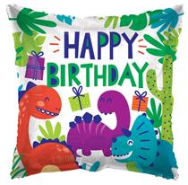 "ECO Happy Birthday Dinosaurs 18"" Foil Balloon"