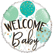 """ECO Welcome Baby Green 18"""" Foil Balloon"""