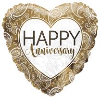 "Gold Happy Anniversary 18"" Foil Balloon"