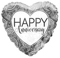 "Silver Happy Anniversary 18"" Foil Balloon"