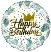 """ECO Happy Birthday Crown & Leaves 18"""" Foil Balloon"""