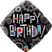 "Happy Birthday 18"" Robot Gears Foil Balloon"