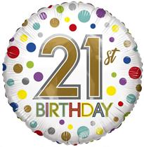 "ECO Age 21 Rainbow Dots 18"" Foil Balloon"