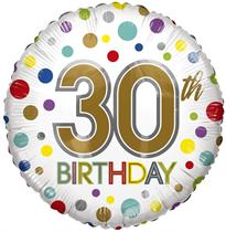 "Age 30 Rainbow Dots 18"" Foil Balloon"