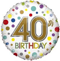 "ECO Age 40 Rainbow Dots 18"" Foil Balloon"