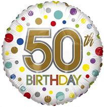 "Age 50 Rainbow Dots 18"" Foil Balloon"