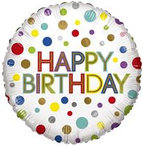 """ECO Happy Birthday Rainbow Dots 18"""" Foil Balloon"""