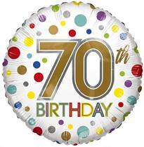 "ECO Age 70 Rainbow Dots 18"" Foil Balloon"