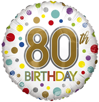 "ECO Age 80 Rainbow Dots 18"" Foil Balloon"