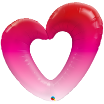 """Valentine 42"""" Pink Ombre Open Heart Foil Balloon"""