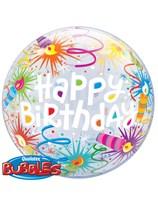 "Happy Birthday Lit Candles Bubble Balloon 22"""