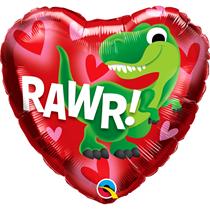 "Valentine 18"" Dino-Rawr Foil Balloon"