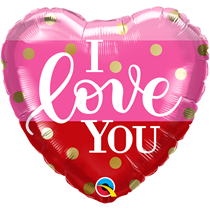 """Valentine 18"""" I Love You Gold Dots Foil Balloon"""
