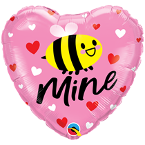 "Valentine 18"" Bee Mine Hearts Foil Balloon"