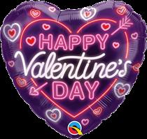 "Valentine 18"" Neon Glow Heart Foil Balloon"