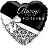 """18"""" Heart Shaped Always & Forever Foil Balloon"""