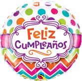 """Feliz Cumpleanos 18"""" Chevron Foil Balloon"""