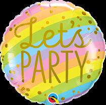 """Let's Party Stripes 18"""" Foil Balloon"""