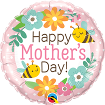 """Mother's Day Bees & Flowers 18"""" Foil Balloon"""