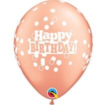 "Rose Gold Birthday Confetti Dots 11"" Latex Balloons"