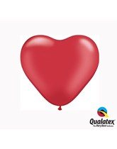 """6"""" Pearl Ruby Red Latex Heart Balloons 100pk"""