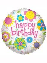 "Happy Birthday Flowers 18"" Foil Balloon"