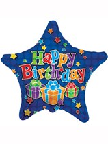 """Blue Stars and Presents Happy Birthday 18"""" Foil Balloon"""