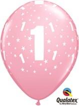 "Age 1 Light Pink Star Print 11"" Latex Balloons 6pk"