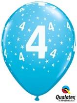 "Age 4 Light Blue Star Print 11"" Latex Balloons 6pk"