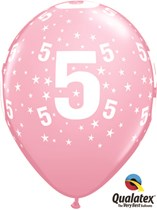 "Age 5 Light Pink Star Print 11"" Latex Balloons 6pk"