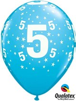 "Age 5 Light Blue Star Print 11"" Latex Balloons 6pk"