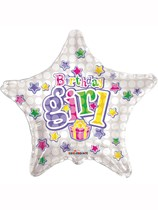 """Silver Stars and Presents Birthday Girl 18"""" Foil Balloon"""
