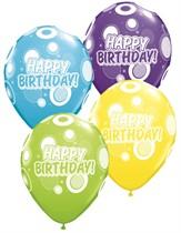 "Assorted Happy Birthday Dots 11"" Latex Balloons 6pk"
