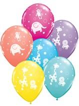 "Cuddly Jungle Animals 11"" Latex Balloons 6pk Asst. Colours"