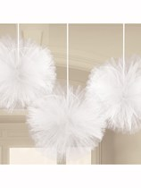 White Fluffy Tulle Hanging Decorations 3pk
