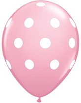"""Pink Big Polka Dots 11"""" Latex Balloons 6pk"""